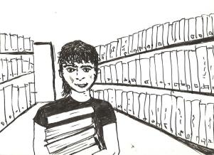 Sasha Petrowa in der Bibliothek